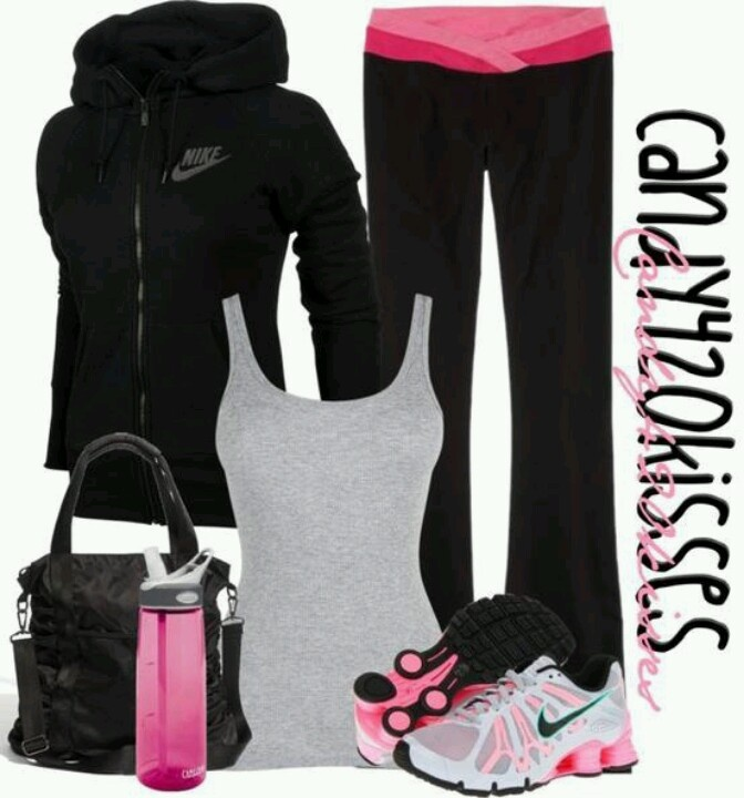 Black workout outfit with pink high lights. Nike track jacket pink and white Nike sneakers ...