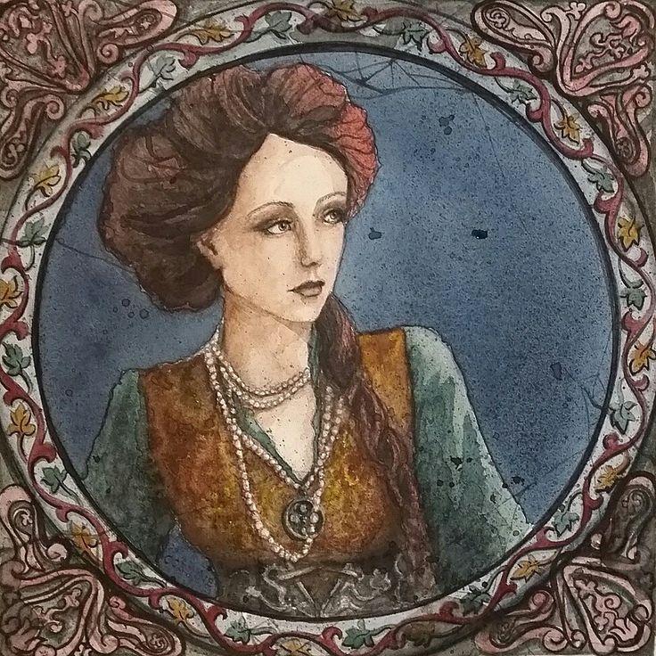 Steampunk tile design watercolour by Corinne Dany