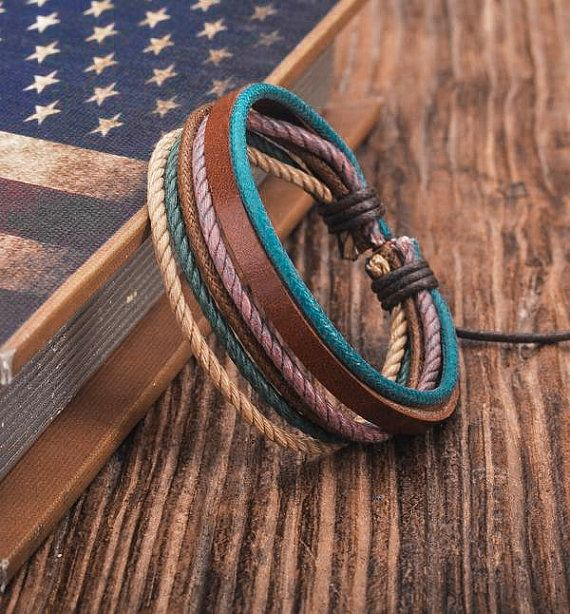 Cuero de la pulsera pulsera para hombre por BraceletStreetUSA