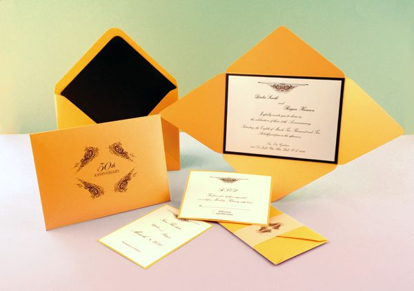 Amber/Bronze Wedding Invitation - Click on the photo to be taken to our gallery room to view all of the elements used in this design or to view other customisable wedding invitation sets that we offer.
