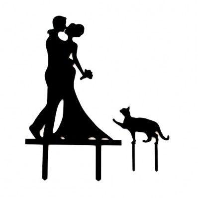 Taarttopper Acryl Man & Vrouw met Kat - Acryl Taarttoppers - Taarttoppers - Decoraties Kant en Klaar