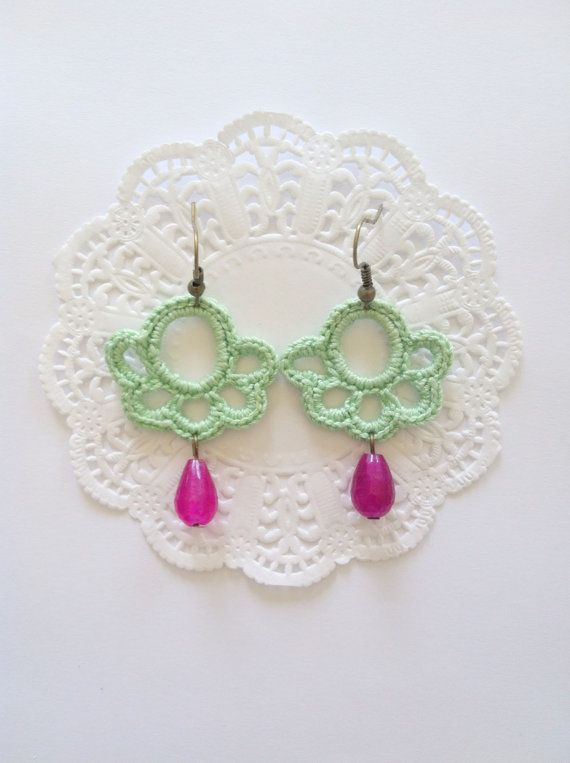 Crochet earrings Peppermint von SereVariabile auf Etsy, €12.00
