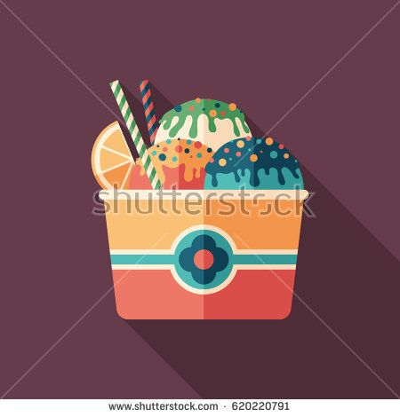 Fruit ice cream flat square icon with long shadows. #foodicons #summericons #flaticons #vectoricons #flatdesign