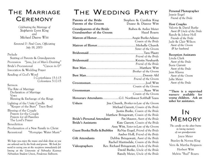Sample Of Wedding Programme  PetitComingoutpolyCo