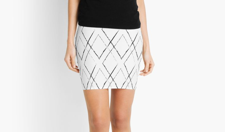 Geometric monochrome diamond pattern by LunaPrincino #lunaprincino #redbubble #print #prints #art #design #designer #graphic #clothes #for #women #apparel #shopping #mini #skirt #bottom #office #fashion #style #pattern #geometric #geometry #ornament #lines #diamond #rhombus #grunge #black #and #white #monochrome #ink