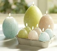 Easter egg candles. These are from pottery barn but there has to be a way to make these.