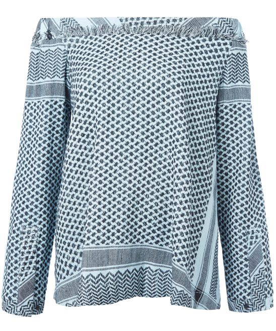 Cecilie Copenhagen Off-White Printed Long Sleeved Off-The-Shoulder Top