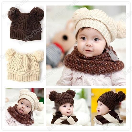 2 Colors Fashion Cute Baby Love Dual Ball Wool knit Warm Cap Winter Hat