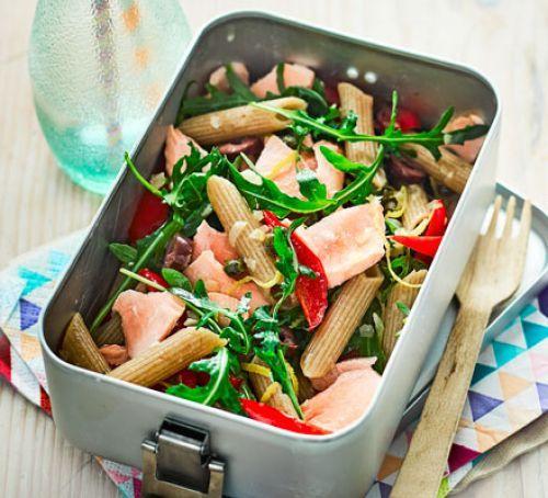 Salmon pasta salad with lemon & capers