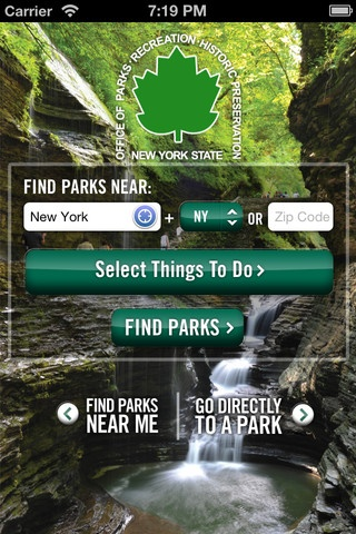 Find parks near you! Search by zip code or by things you like to do. iPhone Screenshot 1