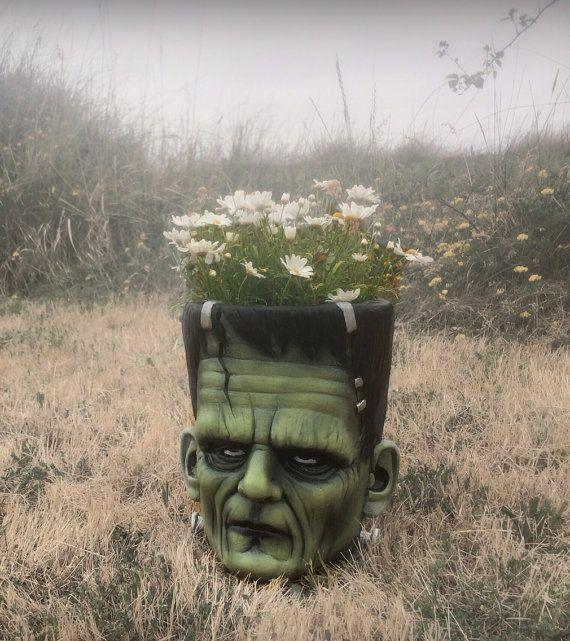 Frankenstein Flowerpots by KatBones on Etsy https://www.etsy.com/listing/200380922/frankenstein-flowerpots
