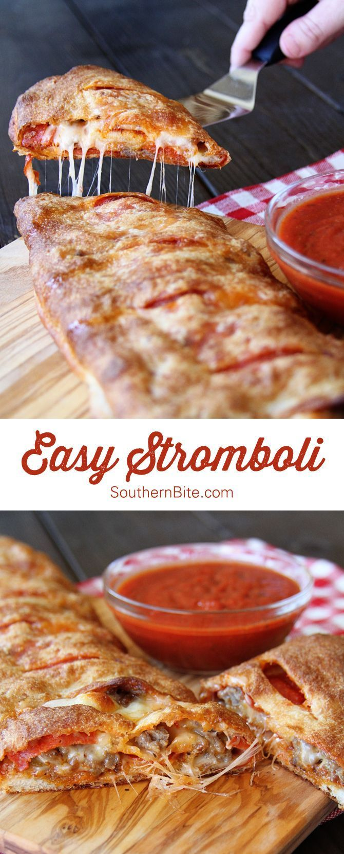 Easy Stromboli recipe from Southern Bite. A 5 ingredient recipe that will have you not wanting to order that take out every again.