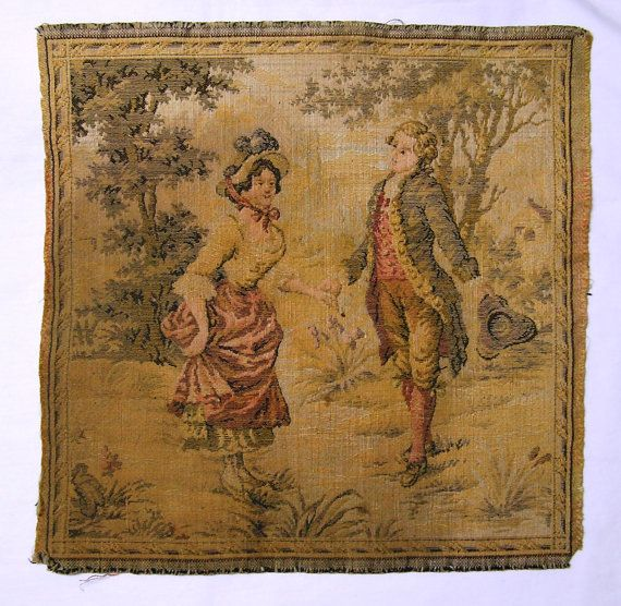 Vintage Woven Tapestry with Man & Woman by VictorianWardrobe, $13.00