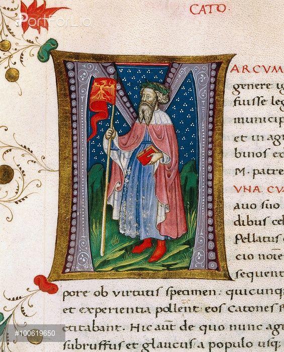 Initial letter M depicting Marcus Porcius Cato the Censor, Cato the Elder, miniature from In libris epitomatum illustriorum virorum Plutarchi, by Pietro Candido Decembrio (1392-1477), parchment manuscript, cod CCXXXIX, folio 88, recto. Italy, 15th century.