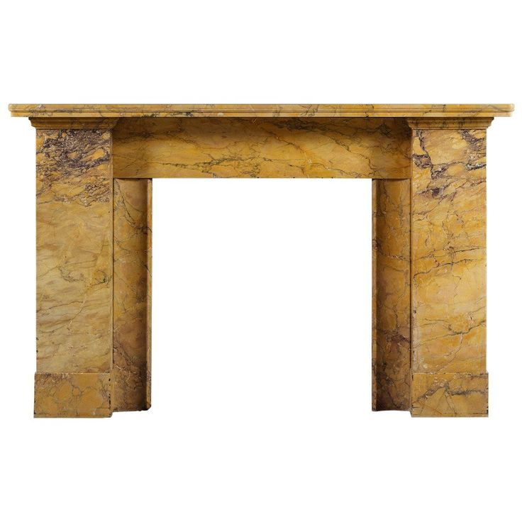 Antique Regency Style Fireplace Mantel in Carved Sienna Marble 1