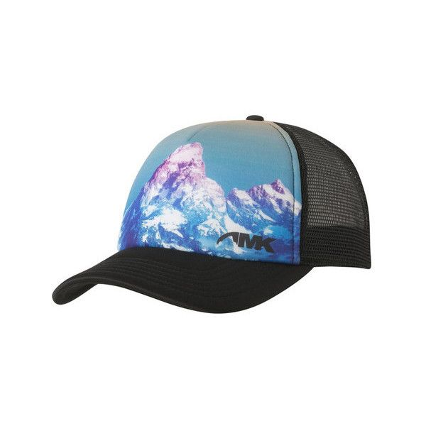 Mountain Khakis Teton Sunset Trucker Cap ($25) ❤ liked on Polyvore featuring accessories, hats, snap back hats, truck caps, snapback baseball caps, baseball cap hats and trucker mesh cap