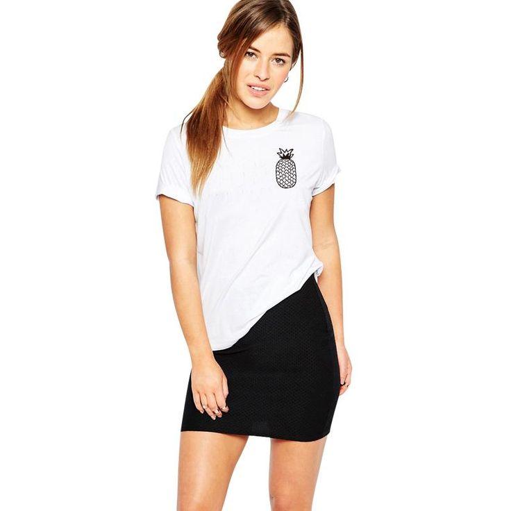 Barato H920 2016 Nova Verão Casual Mulheres Camisetas Brancas Tshirts Manga Curta Impresso Abacaxi Melhores Amigos T Camisas, Compro Qualidade Camisetas diretamente de fornecedores da China:
