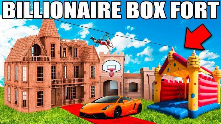 BIGGEST BILLIONAIRE BOX FORT CHALLENGE! 📦💰24 Hour: Basketball Court, Jum...