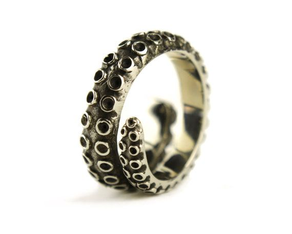 Octopus Tentacle Ring Antique Silver Color Adjustable Ring Wrap Ring Boho Steampunk Jewelry - FRI005 WB or SS