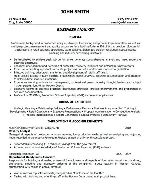 Business Analyst Resume Entry Level Sample Resumes Samples