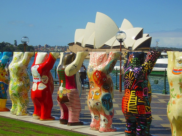 """""""If They Try Hard Enough, They Just Might Get it off the Ground; Or, Atlas Bear is a Dinstant Relative of Yogi's. UNICEF Buddy Bears at Circular Quay."""" by Flickr user Edward Hoover"""