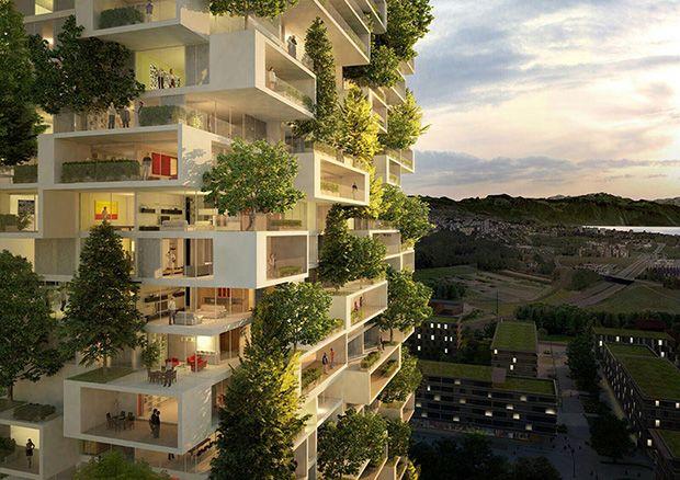 """O prédio de 36 andares, chamado de """"La Tour des Cedres"""" (A Torre dos Cedros), será o lar de mais de 100 árvores de cedro, 6 mil arbustos e 18 mil plantas, distribuídos por cerca de 3.000 metros quadrados nas varandas e terraços."""