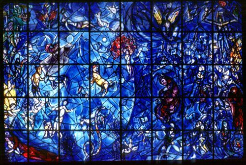 #ART | #Travel | Marc Chagall | 1964: Travels to New York for the unveiling of the Peace stained-glass window commissioned by the United Nations.