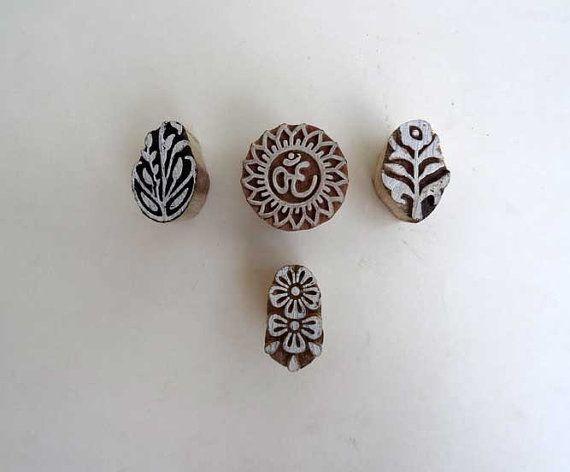 Om wood stamp set  Indian wood stamp hand by IndianCraftsBazaar