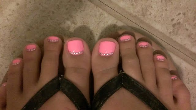 Hot Pink Toe Nails With Rhinestone Accents