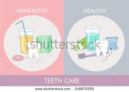 Unhealthy and healthy teeth care. Cartoon dental images.