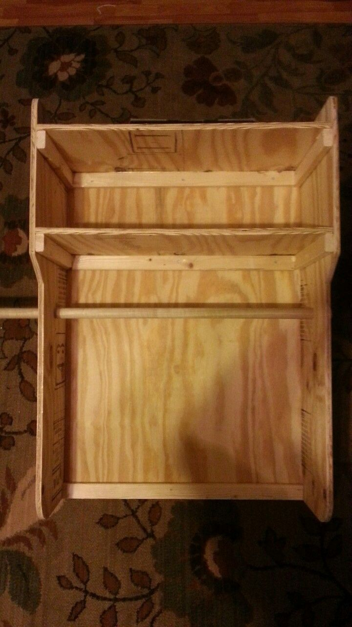 """My version of the duty geare rack.  I cut from a half sheet of 1/2"""" plywood, 1""""dowel and 1""""x 2"""" wood strips. Assembled with wood glue and no. 6 X 1"""" wood screws.  Basic dimensions are 24""""wide X 36""""tall X 12""""deep. Ready to customize and paint."""