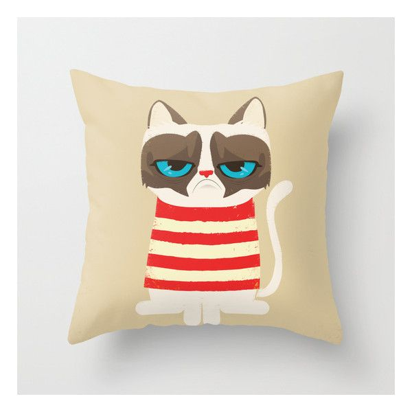 Grumpy Meme Cat Throw Pillow ($20) ❤ liked on Polyvore
