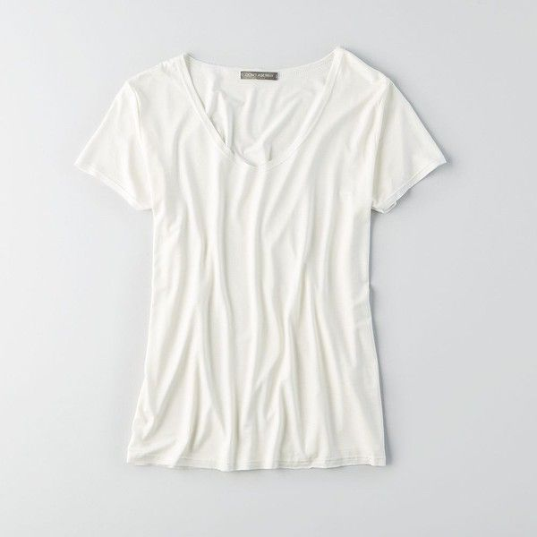 Don't Ask Why Raw Edge V-Neck T-Shirt ($30) ❤ liked on Polyvore featuring tops, t-shirts, white, lightweight t shirts, white v neck tee, white t shirt, v-neck tee and jersey t shirt