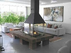 Large Open Fireplace With Hood