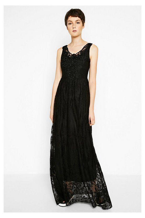 Vestido largo negro con encaje Alicia | Desigual.com C
