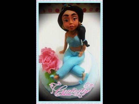 Tutorial principessa Jasmine aladin cake torta pasta di zucchero viso modelling SECONDA PARTE - YouTube