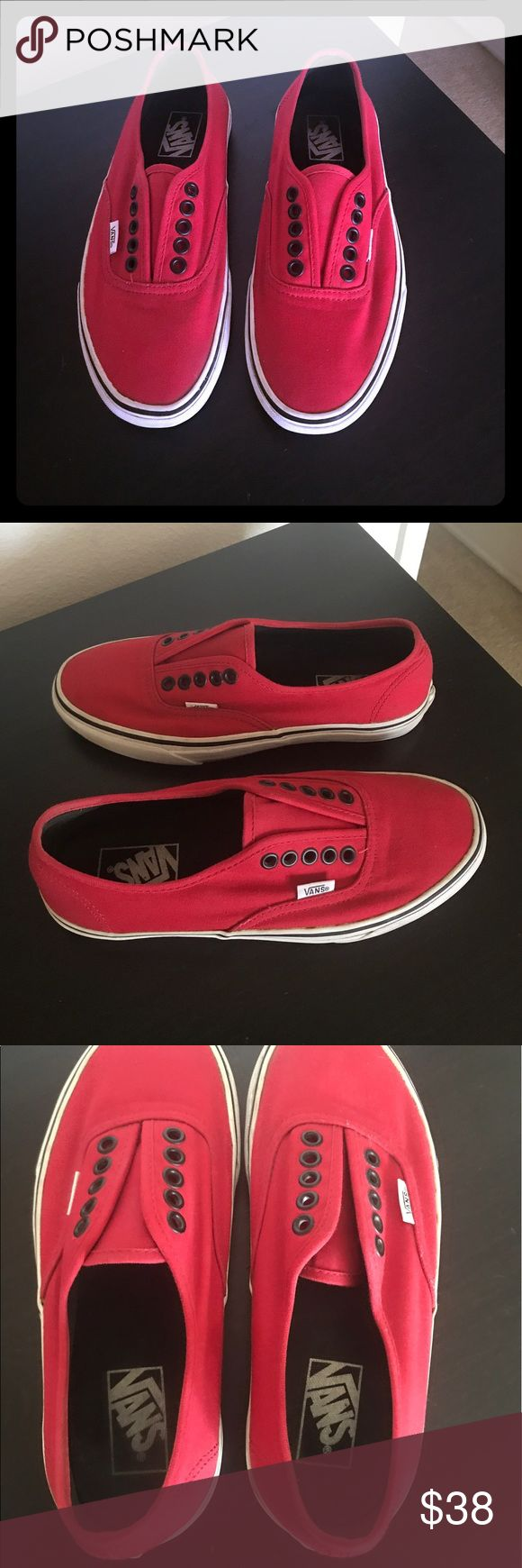 Vans Authentic Red Classic Vans, men's size 6.5, Woman's size 8, the canvas is clean, I always wore these as slip-ons no shoe laces included, no stains, usually wear on the bottom and white trim could use a little cleaning. ⭐️ If making an offer use the offer button! Vans Shoes