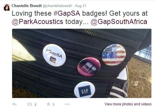 Chantelle loving the #GapSA badges!