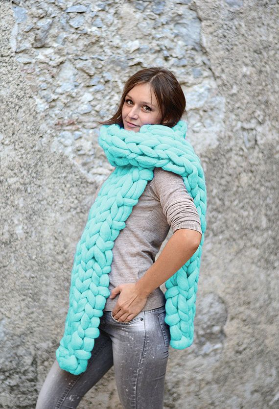 Mint scarf. Chunky sharf. Long scarf. Big bulky scarf. by bloisem