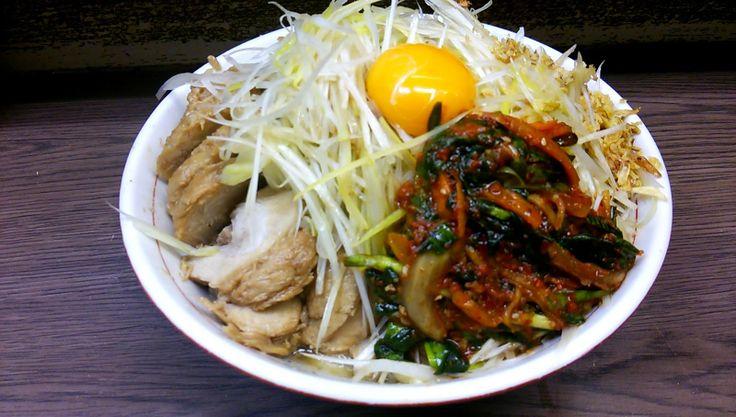 小ぶたダブル + 汁なし + ネギ + ニラキムチ(ラーメン二郎 横浜関内店) | 以上、レポっす。