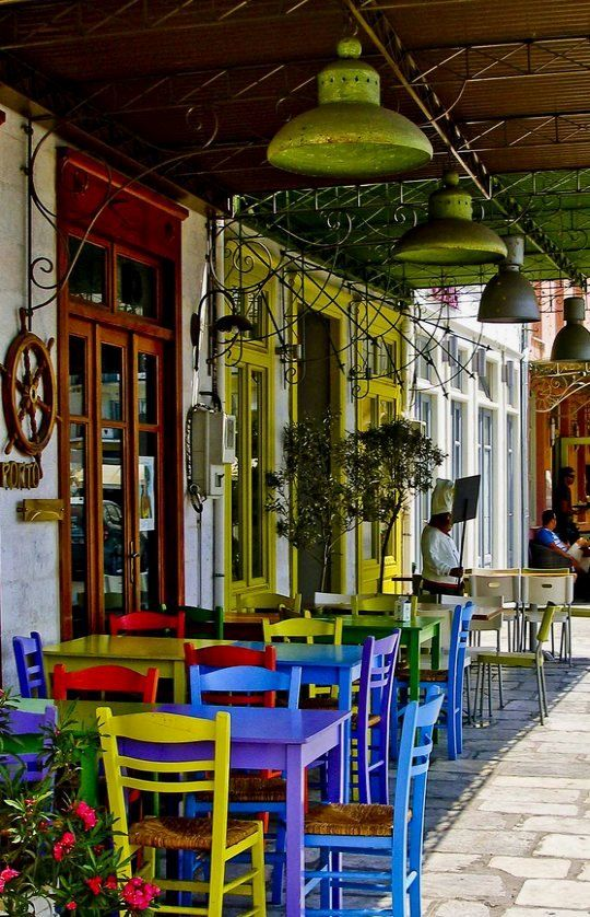 Streetside cafe in Hermoupolis, Syros Island, Greece | by elecoco