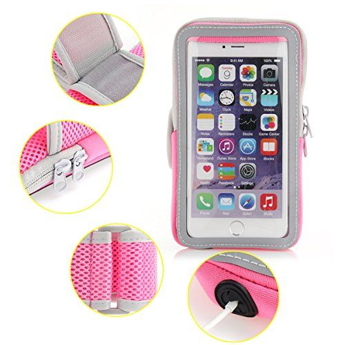 Moonmini Running Armband Sport Neoprene Band Strap Wallet Touchscreen Design with Key Card Gadgets Holders for iPhone 6 Plus  iPhone 6s Plus 55 inch  Pink Great for Jogging Walking  Exercise -- Click on the image for additional details.