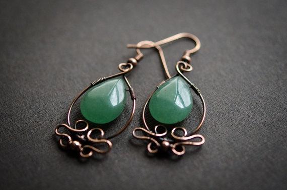 Aventurine Copper earring green copper earring  Wire by ildikova, $23.00