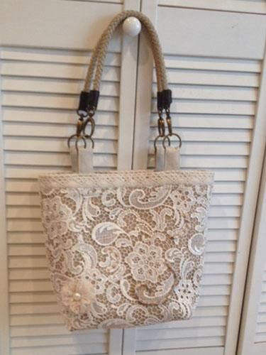 Flavia's Lace Over Burlap - Beach Bound Tote