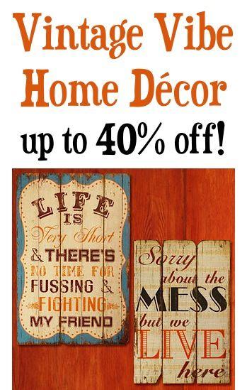 Vintage Vibe Home Decor ~ up to 40% off!  #vintage #decor