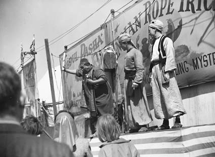 Sideshow men at the Melbourne's Royal Show 1945. National Archives of Australia.