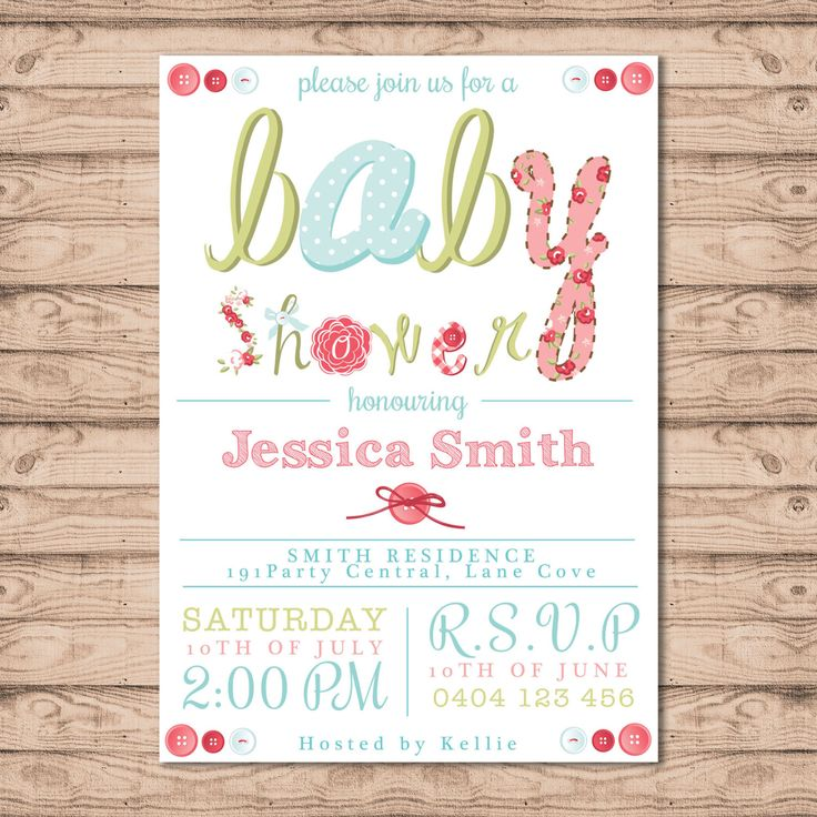 Baby Shower Invitation - Print At Home File or Printed Invitations - Pink Buttons Cute Unique Personalised Baby Shower Invite by PaperCrushAus on Etsy