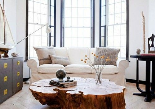 windows + sideboard--love the coffee table made out of a tree stump