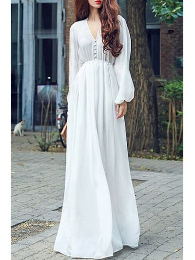 SHARE & Get it FREE | High Waisted V-Neck Long Sleeve Chiffon Maxi DressFor Fashion Lovers only:80,000+ Items • New Arrivals Daily Join Zaful: Get YOUR $50 NOW!
