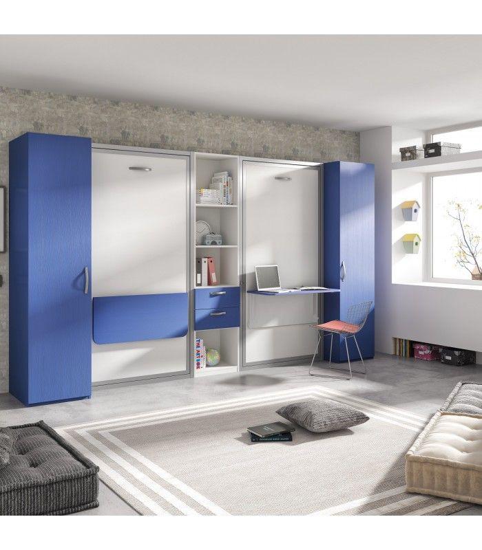 Muebles para dormitorio juvenil largo y estrecho concamas abatibles verticales, mesas plegadas, librería con cajones y armarios.